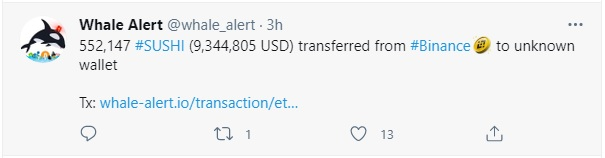 transferred from #Binance to unknown wallet