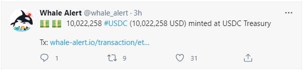 minted at USDC Treasury