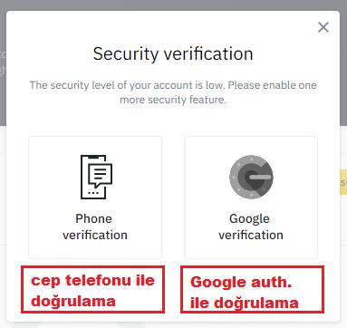 Binance Cep Telefonu ve Google Verification Doğrulamaları