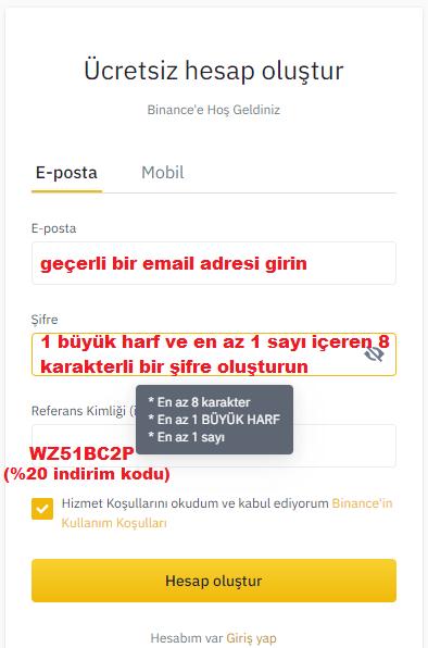 Binance Üyelik Formu Doldurma Ekranı
