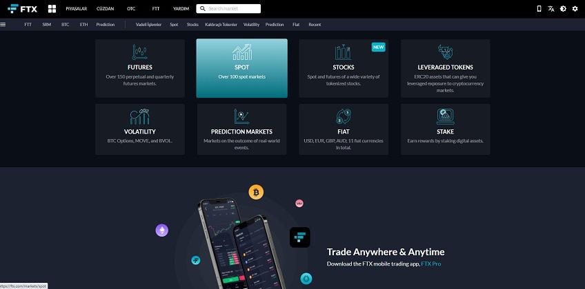 FTX Borsası Ana Ekranı - Türkçe Panel
