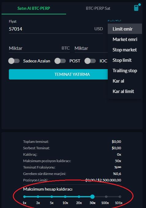 FTX Vadeli İşlemler Ekranı