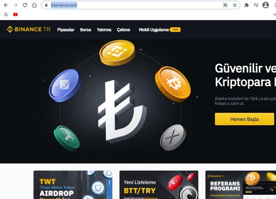 TrBinance Sitesi Giriş Ekranı