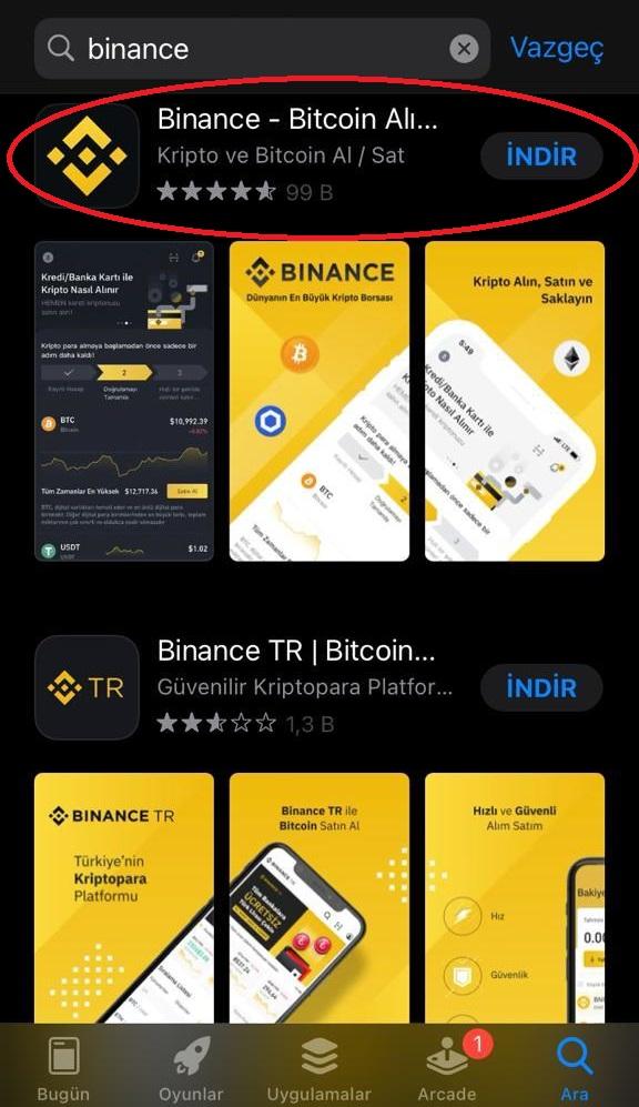 Binance AppStore (Iphone / IOS)